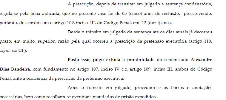 Trecho de decisão, publicada em 15 de fevereiro de 2018, que extingue punição e manda recolher mandados de prisão.