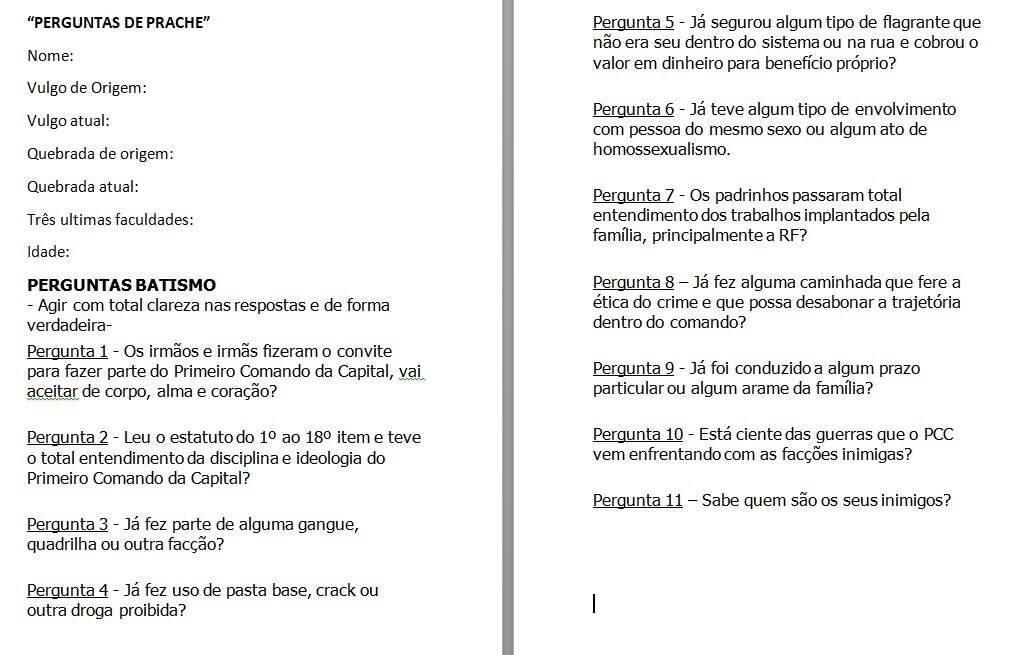 """Matrícula de novo faccionado do PCC, com informações sobre a """"quebrada"""" de origem e interrogatório básico (Foto/Divulgação)"""