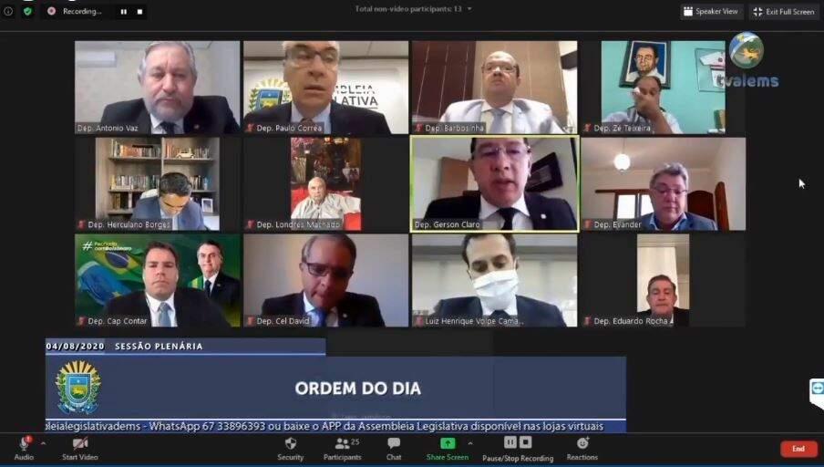 Sessão em videoconferência na Assembleia Legislativa (Foto: Reprodução - Facebook)