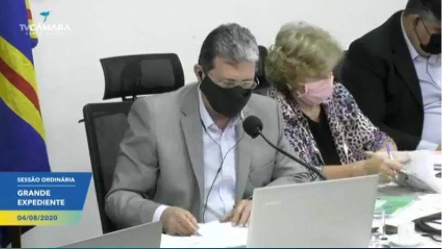 Vereadores durante sessão virtual da Câmara Municipal (Foto: Reprodução - Facebook)
