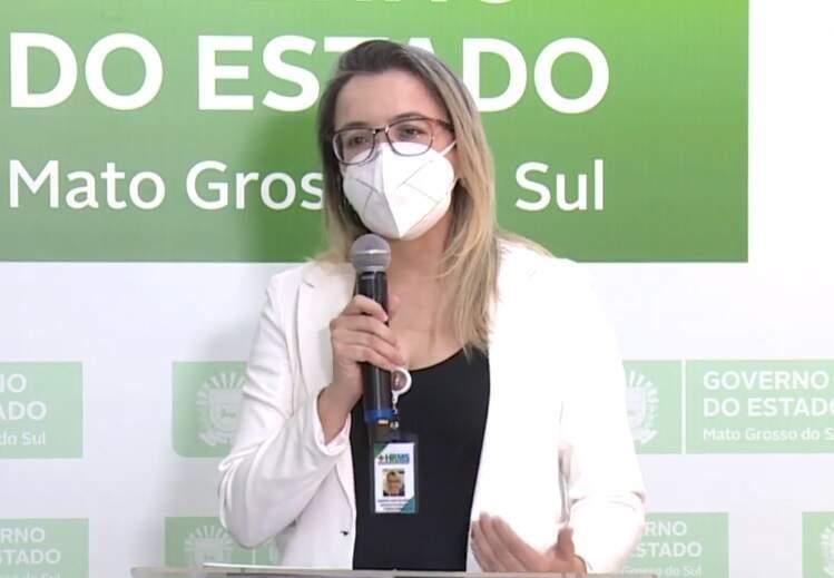 Diretora do HR, Rosana Leite Melo, durante transmissão ao vivo da Secretaria de Saúde (Foto: Reprodução/SES)