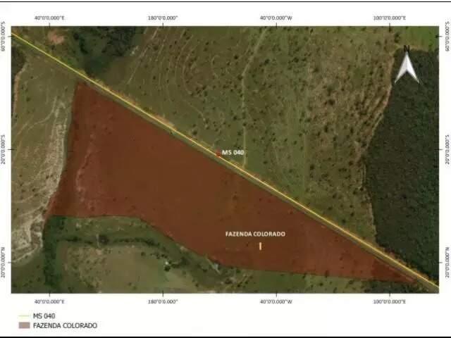 Área eleita pela OCA Ambiental para abrigar aterro fica às margens da MS-040 (Foto: Reprodução)