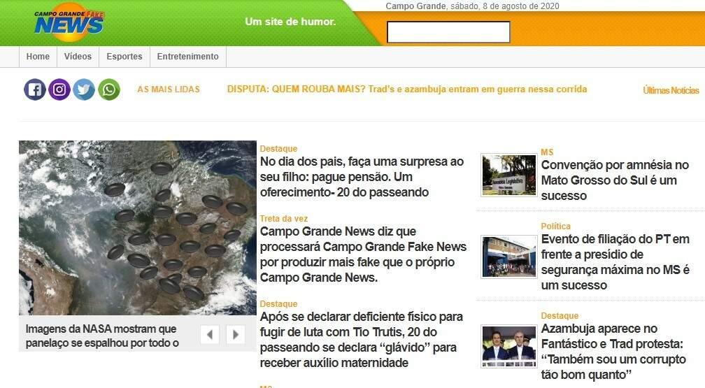 """Página inicial do site """"Campo Grande Fake News"""", acionado na Justiça (Foto: Reprodução)"""
