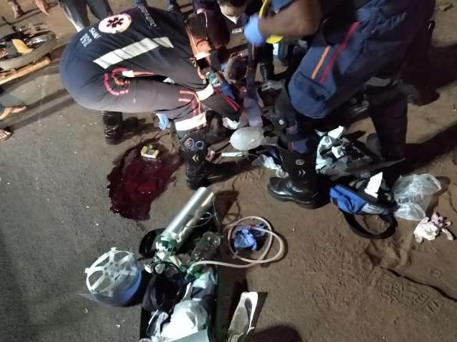 Motociclista fica internado em UTI depois de se acidentar em quebra-mola