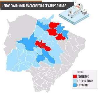 Dos 34 municípios da Macrorregião de Campo Grande, só 6 têm UTIs para covid