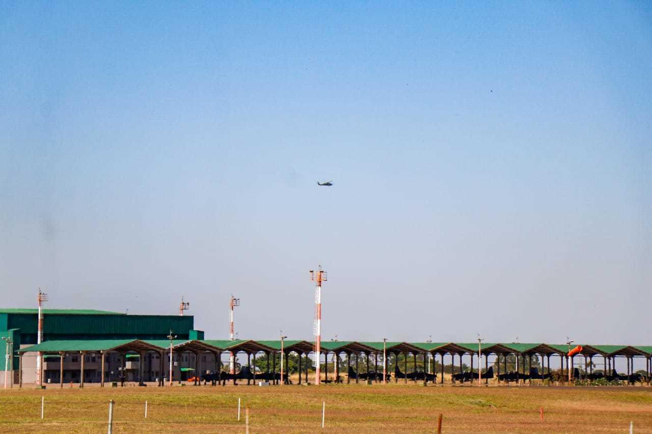Estrutura na Base Aérea de Campo Grande. (Foto: Henrique Kawaminami)