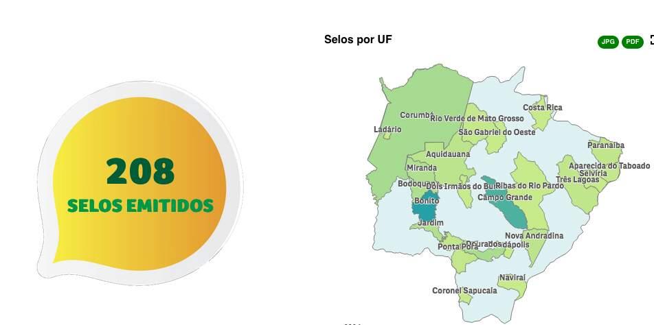 Mapa mostra as 22 cidades sul-mato-grossenses com o selo de Turismo Responsável (Arte: MinTur/Divulgação)
