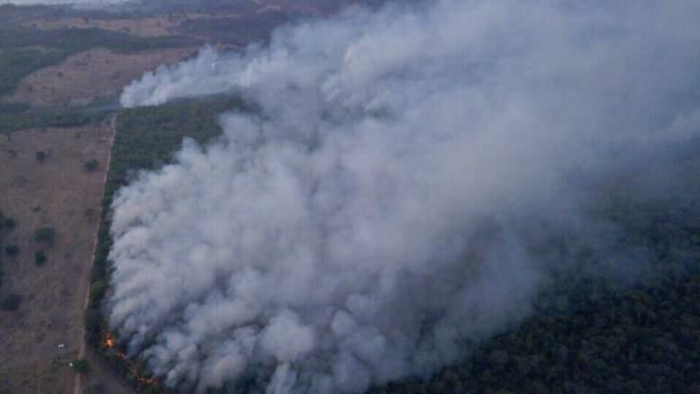 Chamas consomem Parque Estadual das Nascentes do Rio Taquari (Foto: Vitão/Teodoro News)