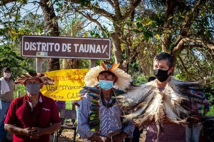 Índigenas Terena no Distrito de Taunay, umas das regiões afetadas pela covid-19 em MS (Foto: Eric Marky/Conselho Terena)