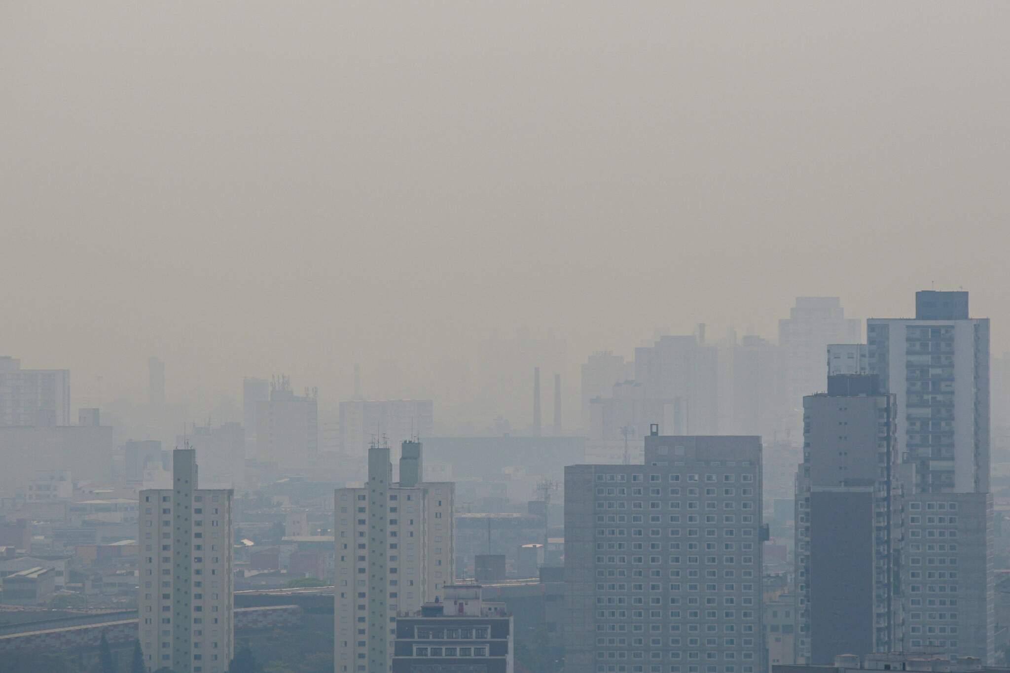Nuvem de fumaça originadas das queimadas do Pantanal pode ser vista do alto de prédio localizado na região central da cidade de São Paulo na manhã deste sábado 19. (Foto: Estadão Conteúdo)