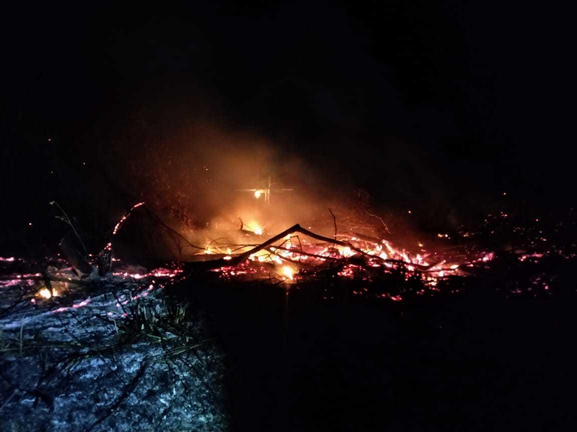 Fogo começava a ficar alto no momento do flagrante. (Foto: Divulgação PMA)