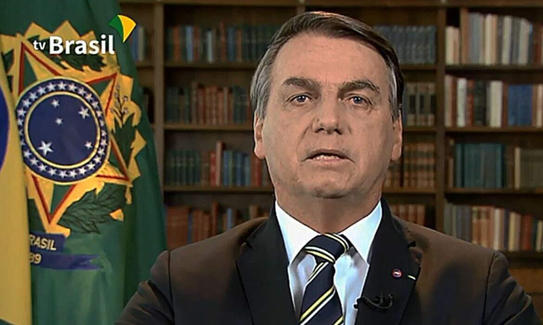 Bolsonaro no pronunciamento da Assembleia Geral das Nações Unidas (Foto: TV Brasil/Reprodução)
