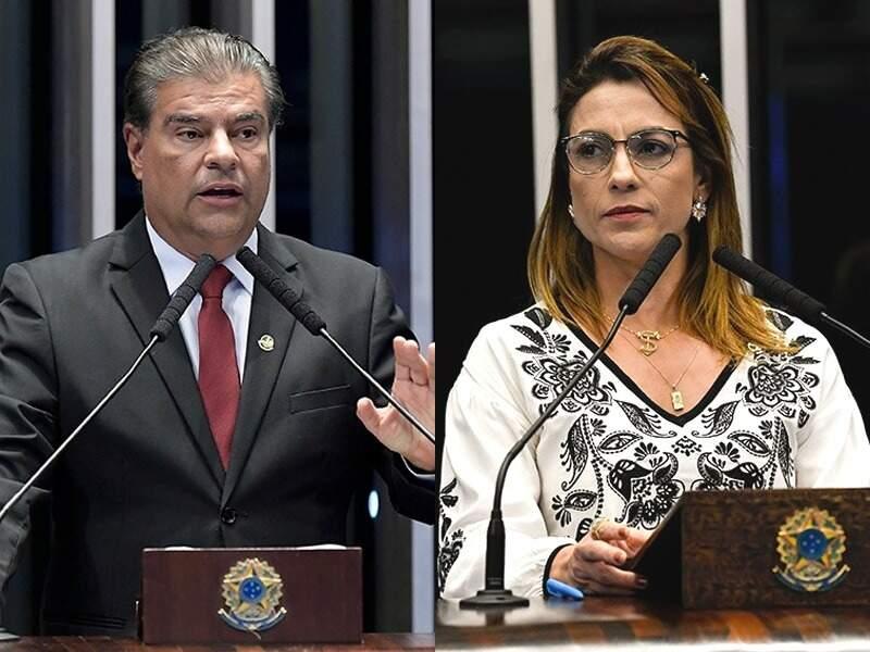 Senadores Nelsinho Trad (PSD) e Soraya Thronicke (PSL), no plenário da Senado (Fotos: Agência Senado)