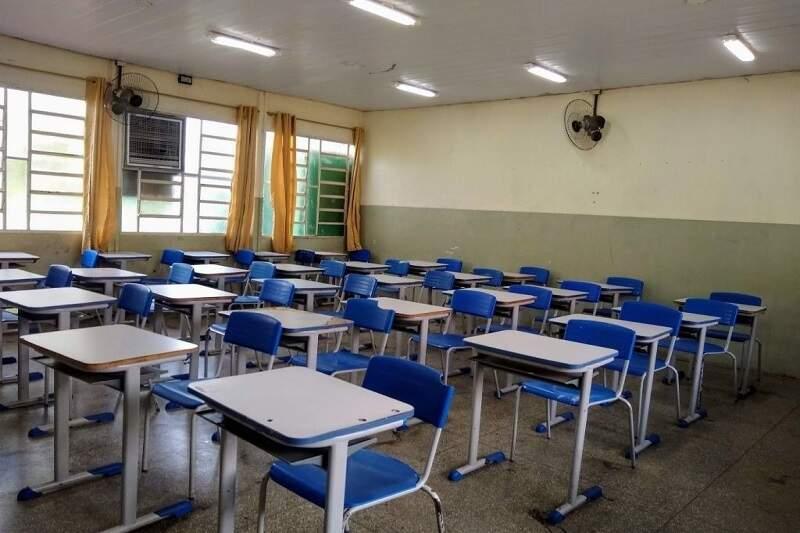 Sala de aula vazia durante o período da pandemia (Foto: Divulgação)