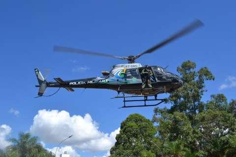 Com helicóptero, policiais fazem caçada a assaltantes vindos da fronteira