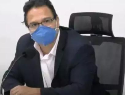 Pedrossian durante audiência na Câmara de Vereadores nesta segunda-feira. (Foto: Reprodução de vídeo)
