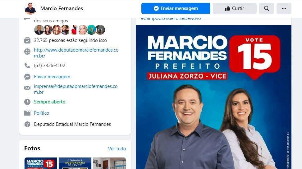 Candidato Márcio Fernandes (MDB), com sua vice, Juliana Zorzo (MDB), na internet (Foto: Reprodução - Fcebook)