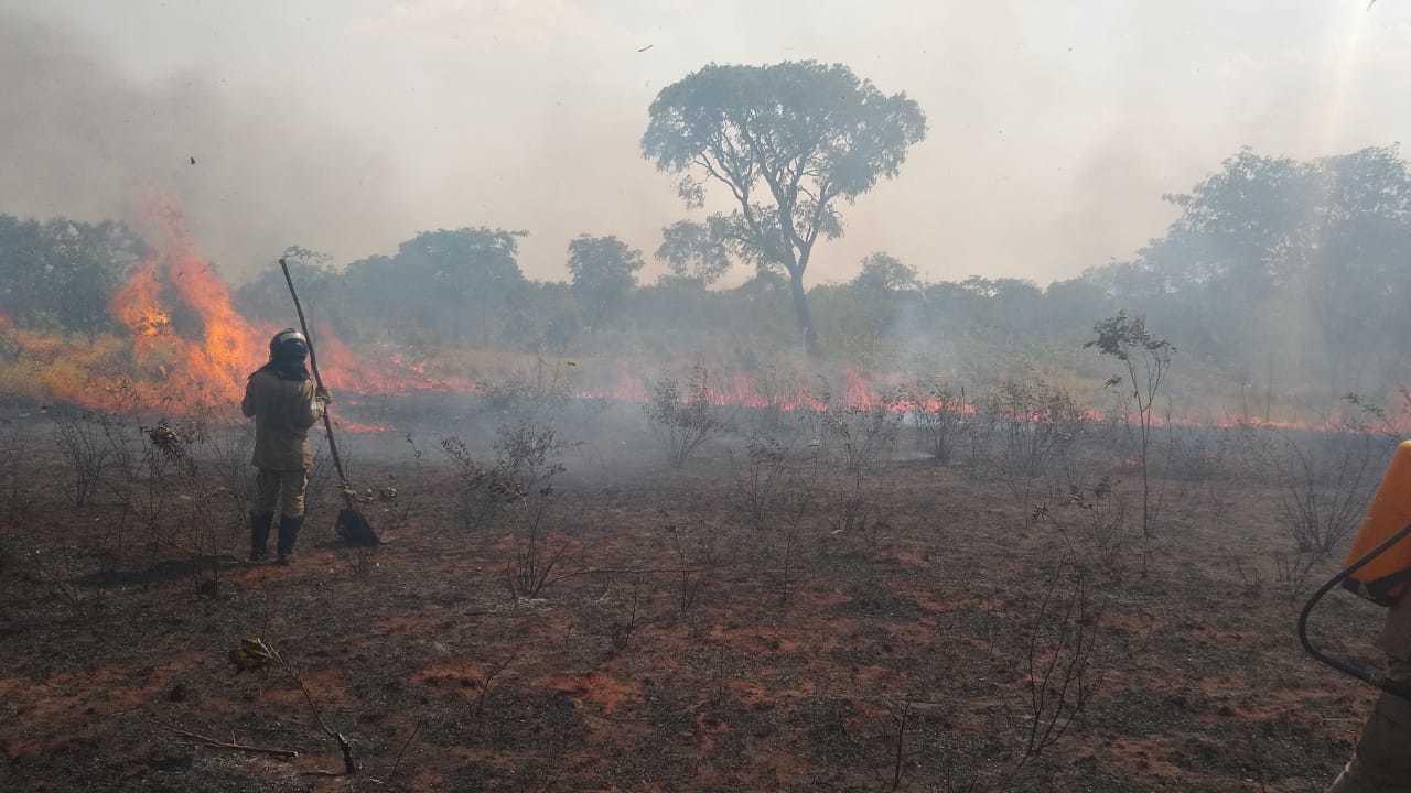 Militares usavam abafadores para tentar apagar as chamas (Foto: Ana Paula Chuva)