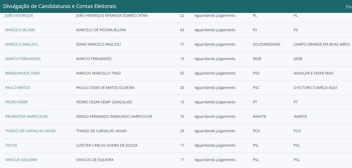 No sistema do TRE-MS o nome de dois candidatos do PSL à prefeitura (Foto/Reprodução)