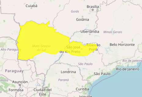 Alerta de tempestade com queda de granizo vale para 46 cidades de MS