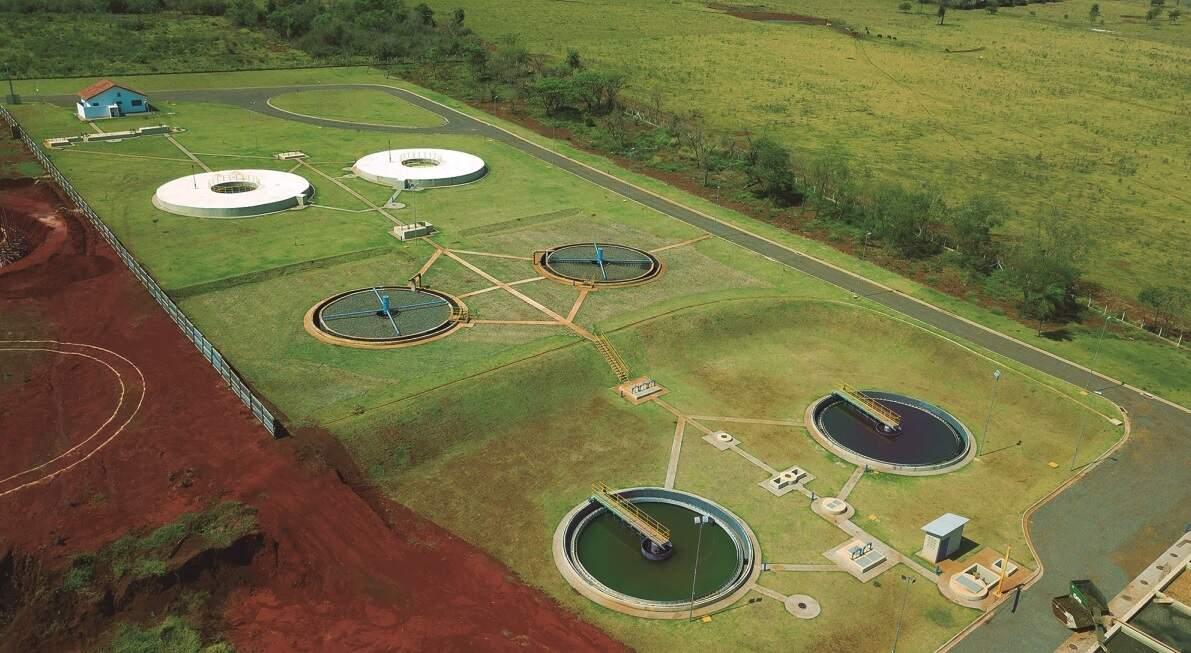 Estação de tratamento de esgoto em Dourados (Foto: Ascom/Sanesul)