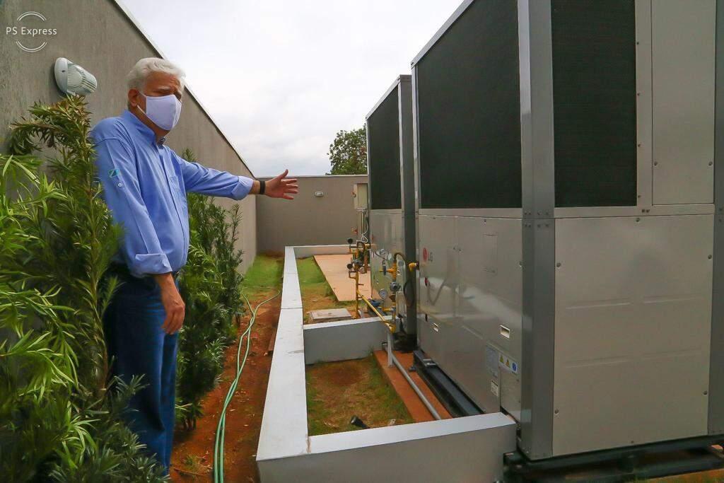 Sistema de ar-condicionado a gás natural apresentando pelo presidente da MSGás (Foto: Edemir Rodrigues)