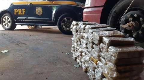 Na 3ª apreensão milionária do dia, 129 quilos de cocaína são achados em carreta