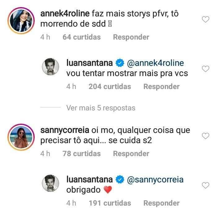 Luan respondendo fãs nos comentários de sua última postagem (Foto: Reprodução/Instagram)