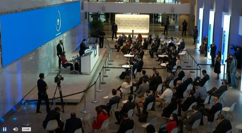 Leilão foi realizado na Bolsa de Valores Brasileira, em São Paulo (Foto: Reprodução - TV B3)