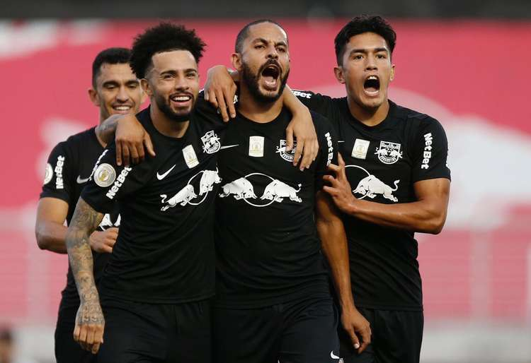 Jogadores comemorando durante partida na tarde deste sábado (Foto: Ari Ferreira/Red Bull Bragantino)