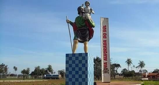 Monumento na cidade de Nova Alvorada do Sul. (Foto: Reprodução/Prefeitura Municipal de Nova Alvorada do Sul)
