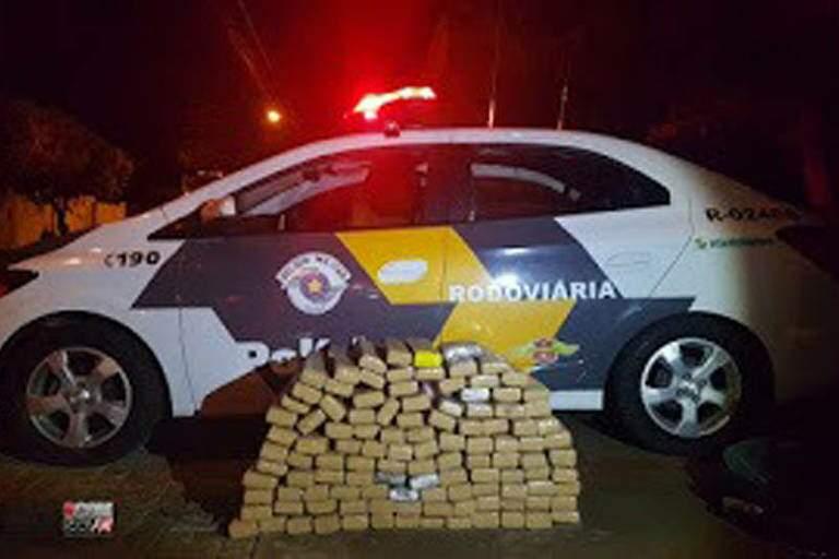 Droga encontrada no carro preparado em Ponta Porã e que iria para Ribeirão Preto (SP) (Foto: Divulgação/PM)