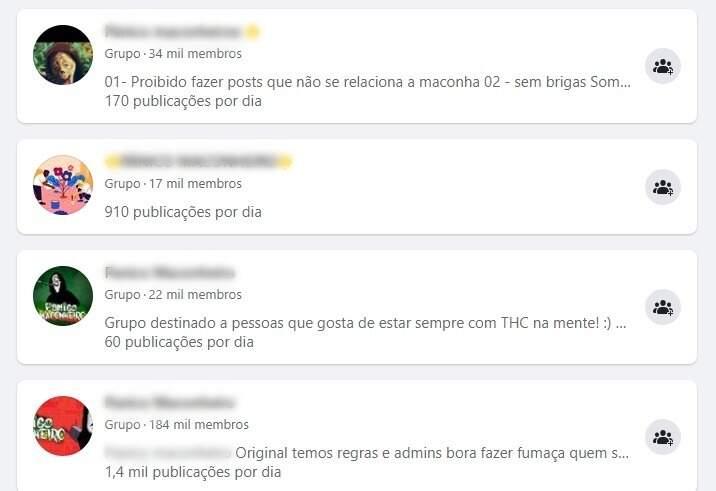 Grupos do Facebook relacionados ao comércio de drogas. (Foto: Reprodução/Facebook)