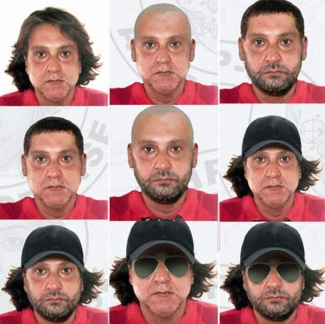 Possíveis disfarces de Cupertino, segundo a polícia paulista