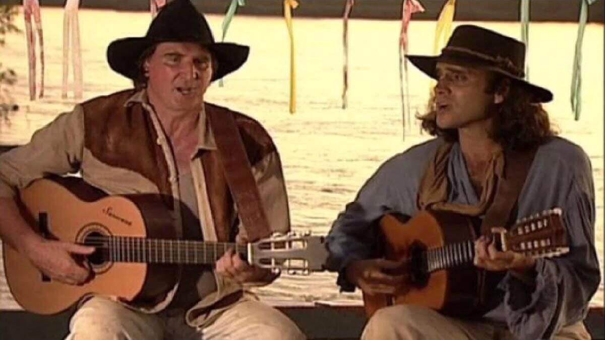 Sérgio Reis e Almir Sater na novela Pantanal.