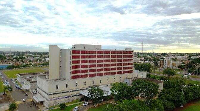 Vista aérea do prédio onde é o Hospital Regional de Campo Grande. (Foto: Coe-HRMS)