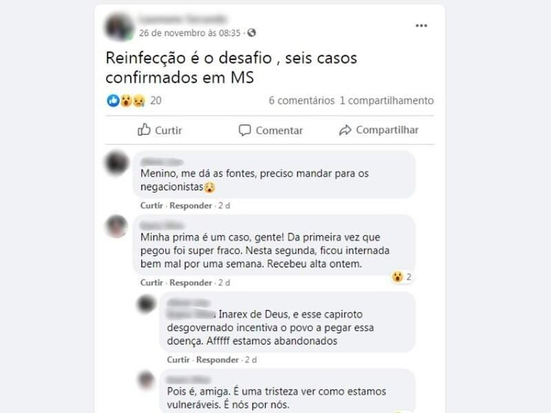 """Relatos de reinfecção crescem em MS, mas nenhum caso foi comprovado, segundo a SES, embora o post de pessoas leiga use a palavra """"confirmado"""" (Foto: Reprodução)"""