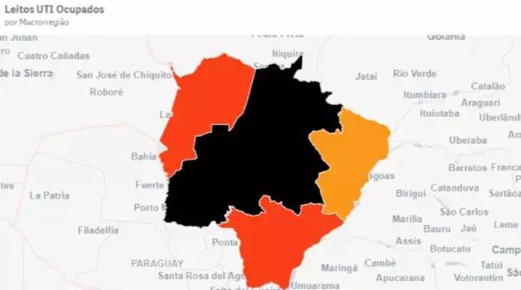 Mapa de ocupação de leitos mostra a região de Campo Grande marcada de preto, ou seja, tudo cheio. (Foto: Reprodução do painel Mais Saúde)