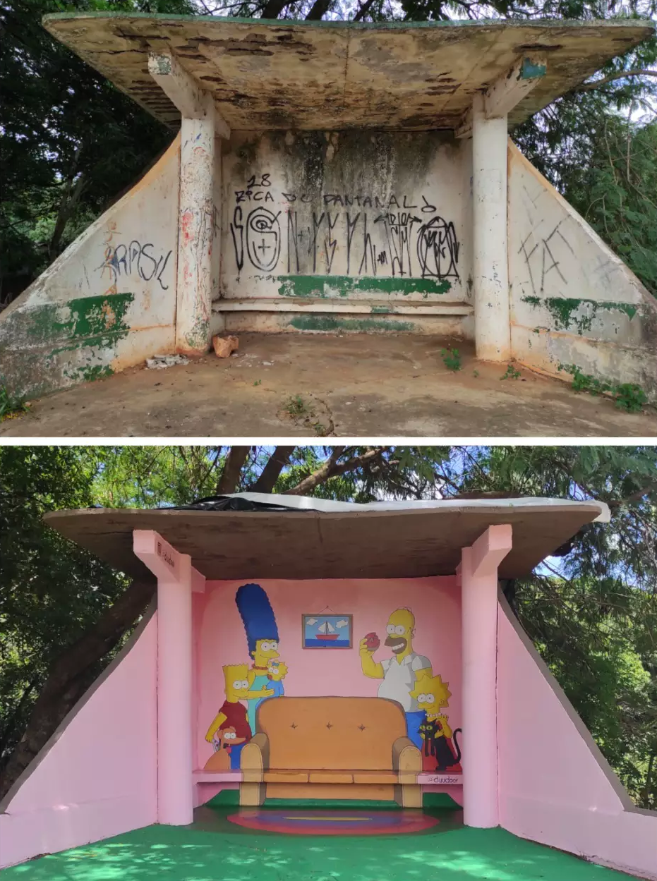 Esse é o antes e depois do local (Foto: Arquivo Pessoal)