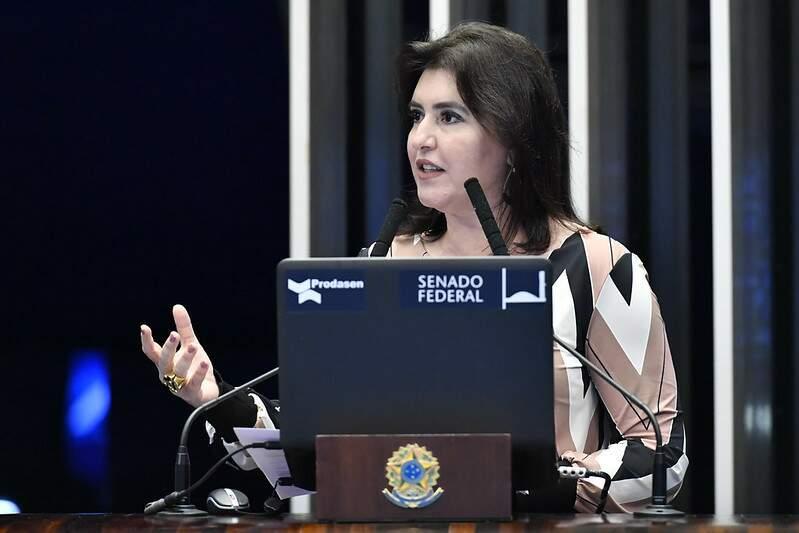 Simone é a primeira candidata e já pode ser a primeira eleita à cadeira mais cobiçada do Senado (Foto: Waldemir Barreto/Agência Senado)