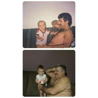 """Separadas por 30 anos, fotos revelam pai """"durão"""" e avô """"babão"""""""