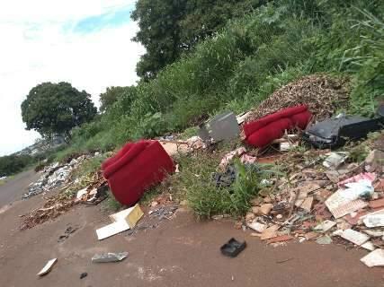 """De sofá a cachorro morto: terreno vira """"lixão"""" a céu aberto"""