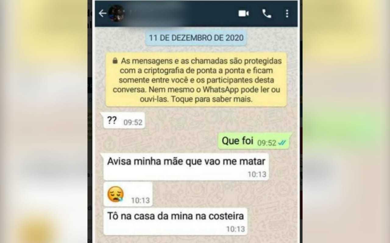 Print da mensagem enviada ao amigo aqui de Campo Grande em dezembro. (Foto: Reprodução Whatsapp)