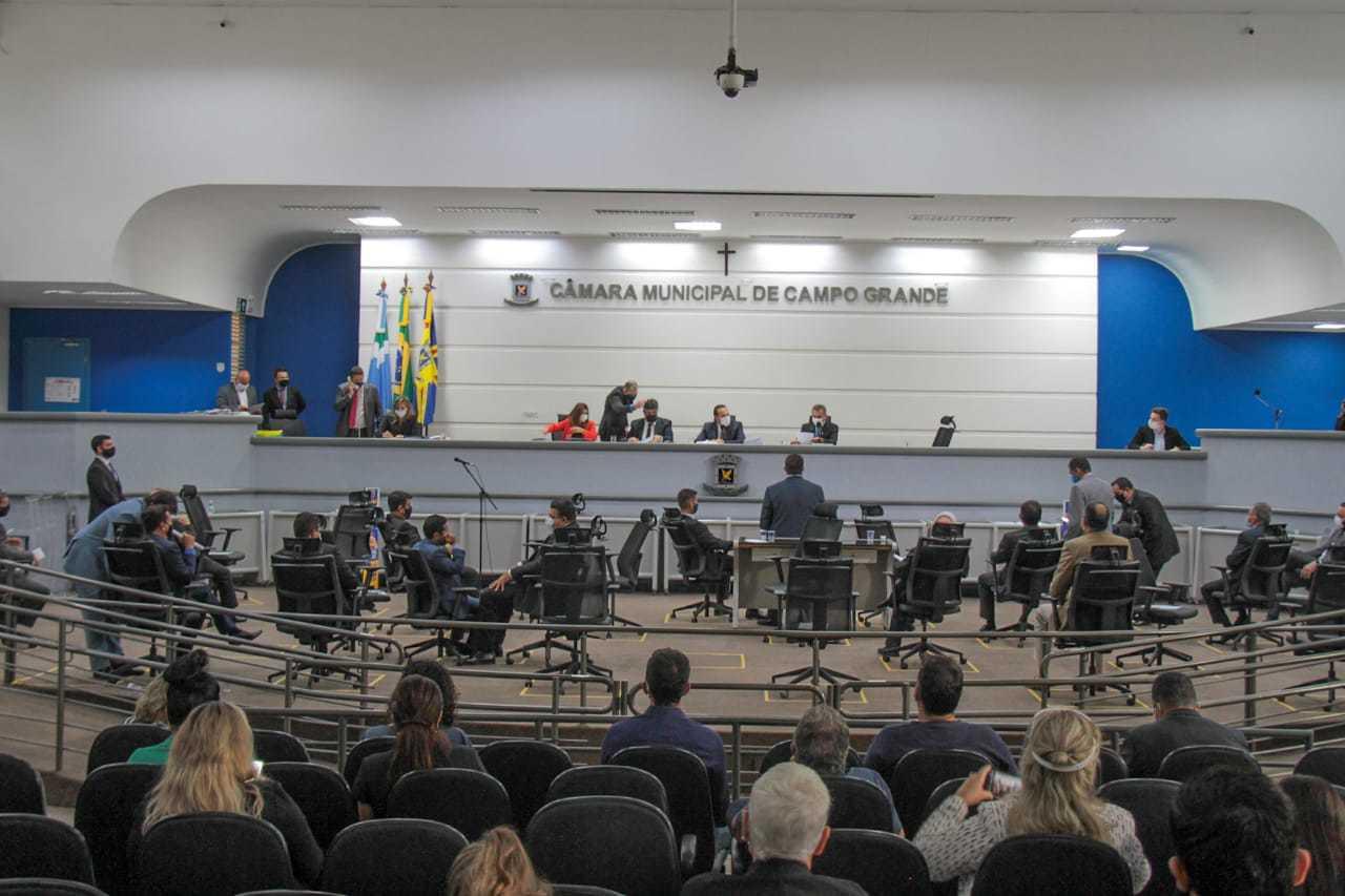 Plenário da Câmara Municipal de Campo Grande na manhã desta terça-feira (23). (Foto: Marcos Maluf)
