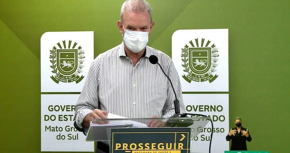 Secretário de Estado de Saúde, Geraldo Resende, durante live desta sexta-feira (05) - (Foto Reprodução)