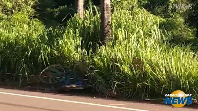 Caminhão atropela e mata ciclista na MS 376